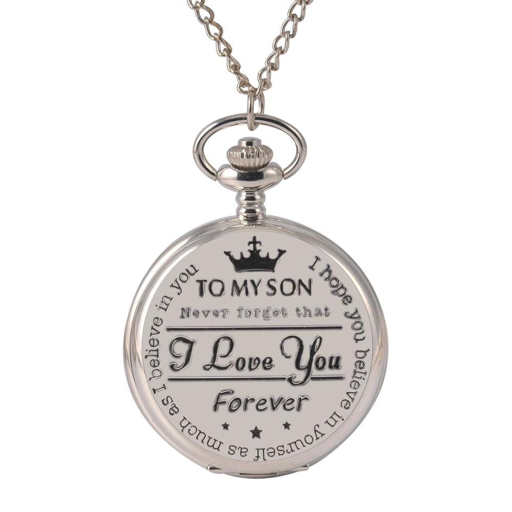 8809To My Son Love You Series Pocket Watch Fashion Retro Roman Numeralsx Pocket Watch Pendant With Chain Quartz Unisex Nice Gift