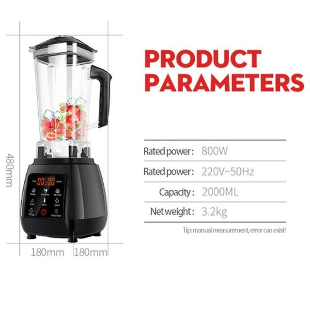 2.0L Digital Touchscreen Fruit Blender Mixer Preset Automatic Program Juicer Food Processor Ice Crusher Smoothie Machine 6