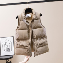 Solid Short Style Vest for Women Cotton Padded  Women's Winter Sleeveless Jacket with Zipper Stand Collar Casual Coats
