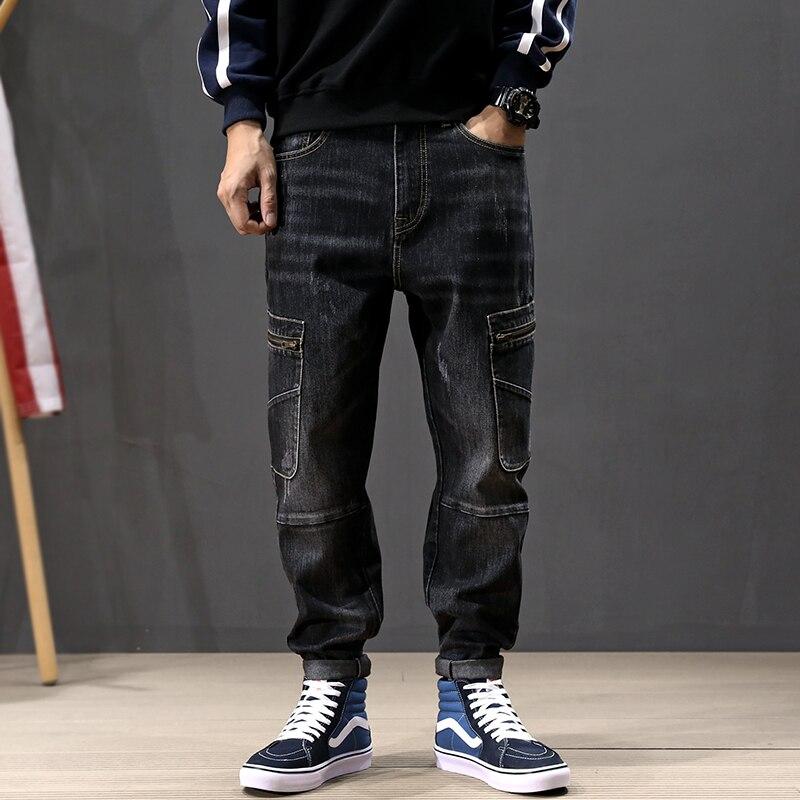 Fashion Streetwear Men Jeans Retro Black Gray Loose Fit Big Pocket Cargo Pants Spliced Designer Hip Hop Jeans Men Harem Pants