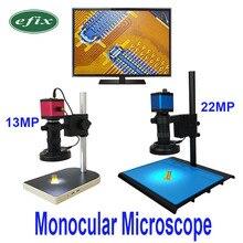 13MP HDMI VGA /22MP HD USB TF microscopio Monocular lente de cámara digital 56 LED luz gran banco de trabajo soporte reparación soldadura teléfono