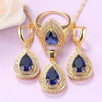 Traje de gota de agua para mujer, conjunto de joyería chapado en oro de circonia cúbica azul, collar y pendientes africanos, anillo de 3 piezas, regalo