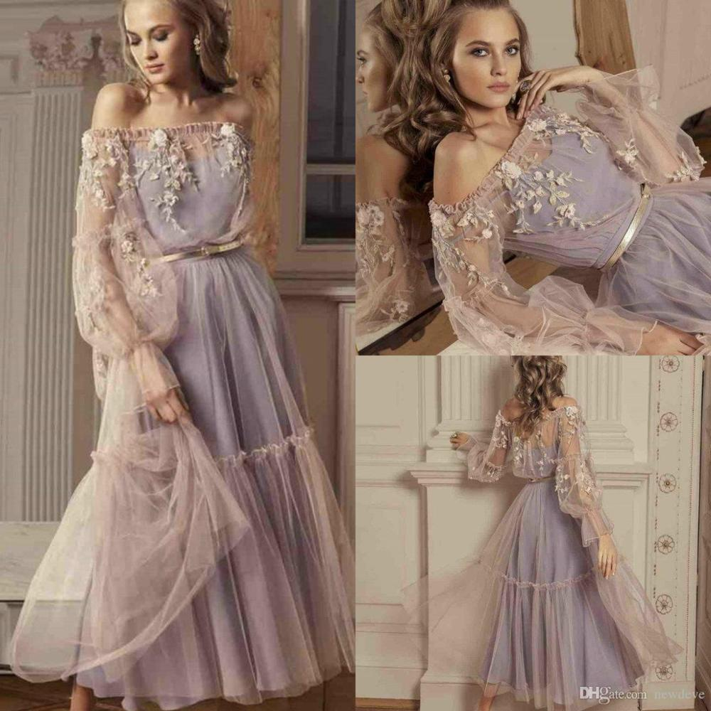 2020 Evening Dresses Off Shoulder Long Sleeves Lace Appliques Special Occasion Gowns Custom Made A Line Prom Dress