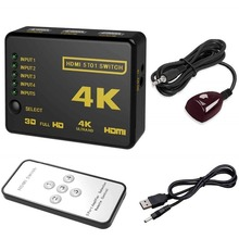 HDMI-kompatibel Switcher 4K HD1080P 3 5 Port HD Schalter Selector Splitter Mit Hub IR Fernbedienung Für HDTV DVD TV BOX Z2