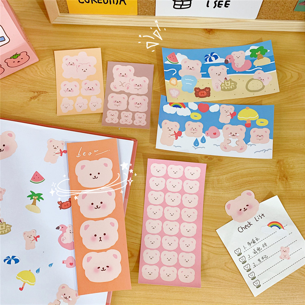 6sheets Cute Pink Bear Series Stickers DIY Scrapbooking Album Diary Mobile Phone Gift Seal Happy Planner Decoration Stickers