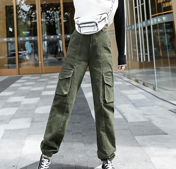 Cotton blend cargo pants for women casual capris female plus size brown army green black pocket new fashion spring hdl2001