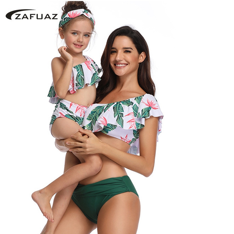 <font><b>2019</b></font> Mom Baby <font><b>Ruffle</b></font> <font><b>Swimwear</b></font> Two Piece <font><b>Swimsuit</b></font> Vintage Print <font><b>Sexy</b></font> mommy and me Plus Size Beach Wear High Waist Bathing Suit XL image