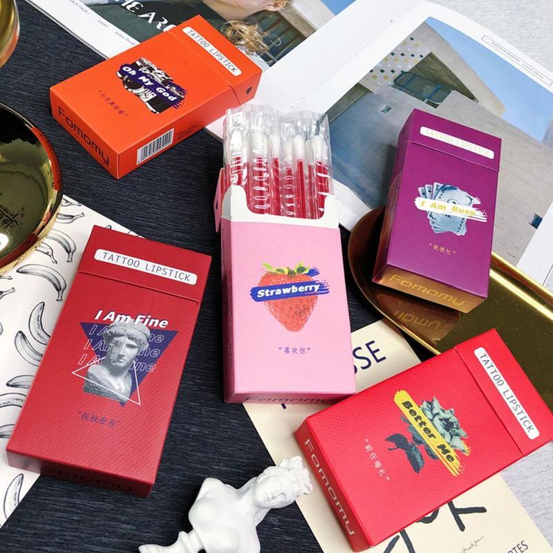 5 Colors Tobacco Box Cotton Swab Lip Gloss Set Moisturizing Long Lasting Liquid Lipstick Cherry Orange Red Lip Tint