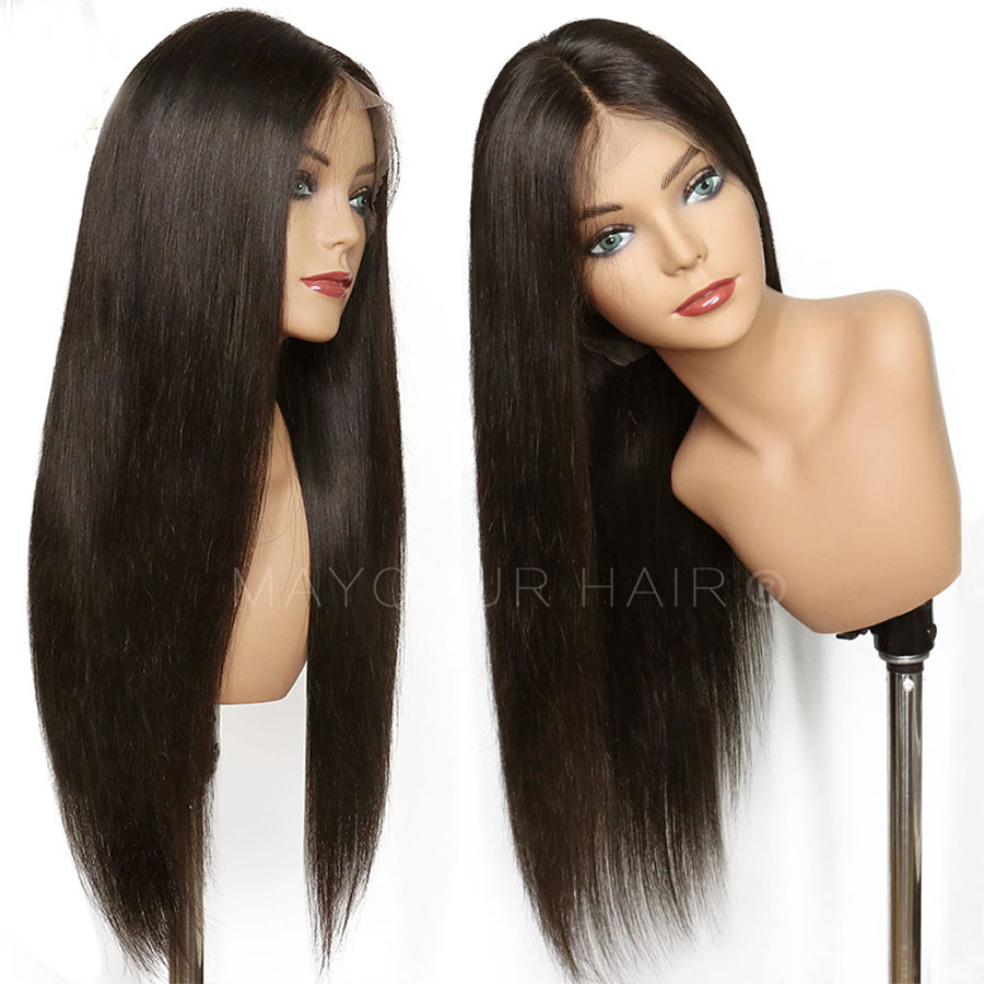 Maycaur Brown Long Straight Synthetic Lace Front Wigs For Black Women Gluless Wig with Natural Hairline (1)