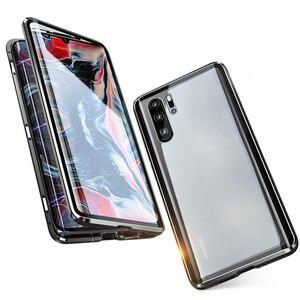Image 5 - Funda magnética protectora de cuerpo completo para Huawei P30 Pro P20 Mate 20 Pro 360, funda trasera de vidrio templado para Huawei P30Pro