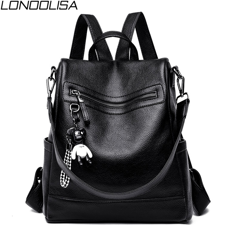 2019 Women Luxury Soft Leather Backpack Multifunction Anti-theft School Bag For Teenager Girls Ladies Travel Backpack Rucksack