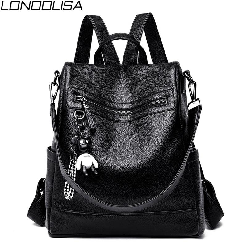 2019 Women Luxury Soft Leather Backpack Multifunction Anti-theft School Bag For Teenager Girls Ladies Travel Backpack Rucksack