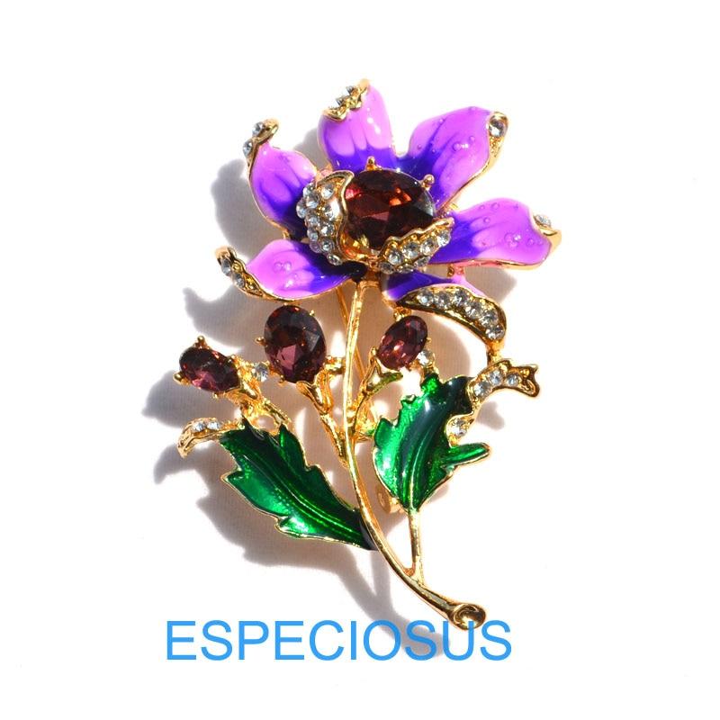 Элегантная булавка золотого цвета для женщин, подарки фиолетового цвета, цветок, стразы, брошь для груди, аксессуары, ювелирное изделие, окрашенная металлическая брошь, одежда - Окраска металла: Purple