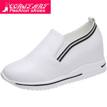 high flat platform 7cm Height Increasing Casual Shoes Woman 2019 Spring new Hidd