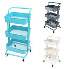 Multi-purpose trolley with wheels storage 3 levels kitchen office bathroom bar cart  rolling cart