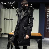 CHAIFENKO 2020 브랜드 겨울 따뜻한 자켓 남성 캐주얼 비즈니스 긴 두꺼운 후드 윈드 브레이커 코트 남성 솔리드 패션 파커 남성