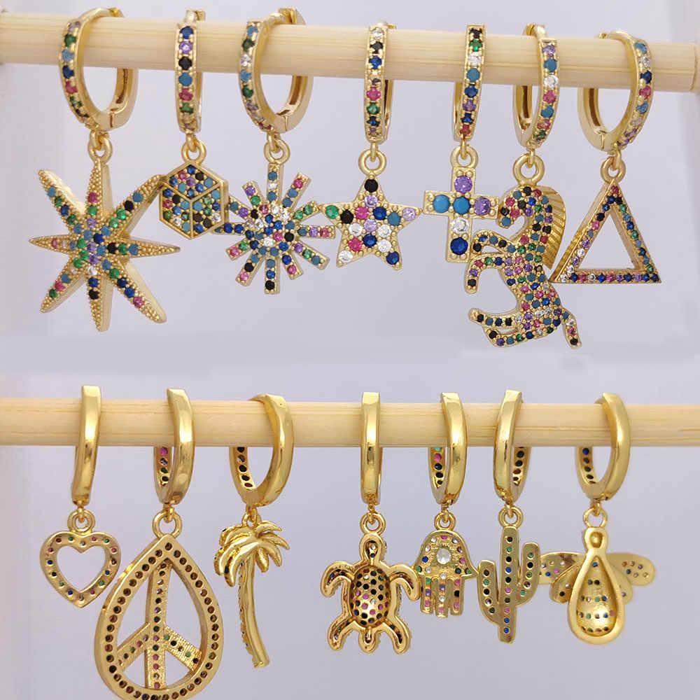 Kleine Hoop Ohrringe Frauen Herz Bee Mond Kaktus Blatt Geometrische Baum Stern Pferd Flügel CZ Regenbogen Schmuck Gold Farbe Hoops 1 stück