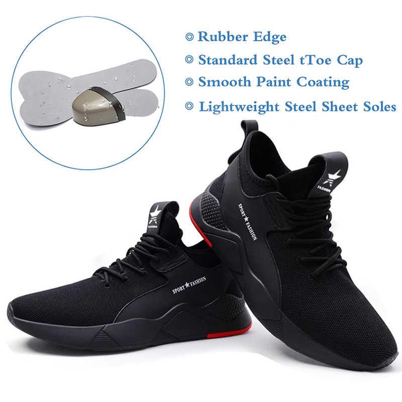 MWSC erkek güvenlik iş ayakkabısı tüm sezon iş çizmeleri ayakkabı çelik burun güvenlik iş ayakkabı erkek nefes Anti-smashing ayakkabı