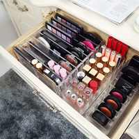 Transparent Acrylic Cosmetic Storage Boxes Display Stand Shelf for Blush Nail Polish Eye Shadow and Household Items
