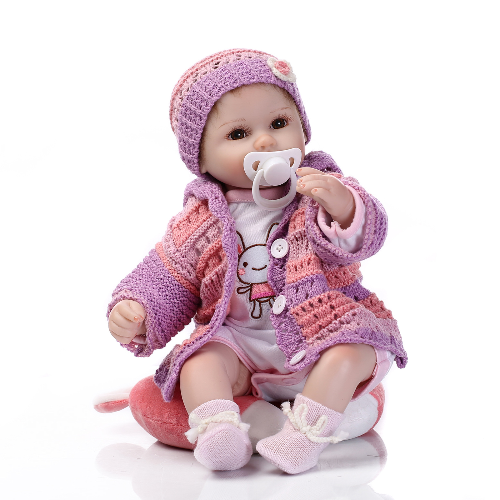 Purple Cute Reborn Baby Doll Soft Silcone Infant Realiste Soft Safe Real Touch Bath 40cm Christmas Gift Friends Girl Toys AA50DT