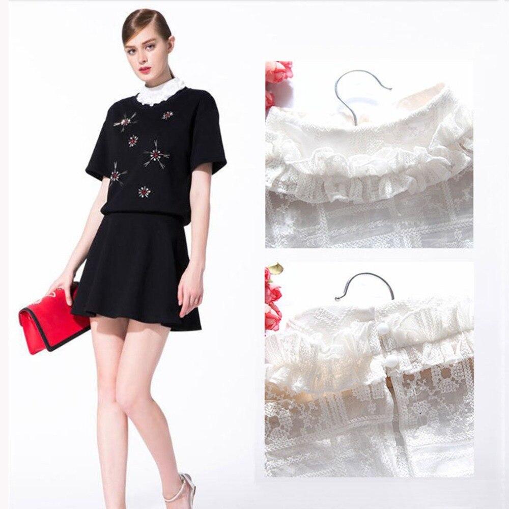Wrinkle Embroidery Fake Collar White Tie Vintage Detachable Collar False Collar Lapel Blouse Top Women Clothes Accessories
