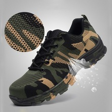 Рабочие ботинки, строительные мужские уличные ботинки со стальным носком, мужские камуфляжные ботинки с защитой от проколов, высокое качество, защитная обувь размера плюс