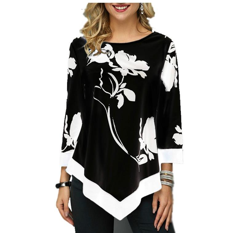 Shirt Women Spring Autumn Printing O-neck Blouse 3/4 Sleeve Casual Hem Irregularity Female Fashion Shirt Tops Plus Size