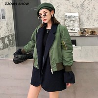2019 Harajuku Spliced False 2 piece Set Notched Collar Pilots Jacket Women Vintage Bomber Pilots Coat Outerwear Tops femme