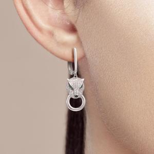 Image 5 - Boucles doreilles en argent SANTUZZA pour femmes pur 925 en argent Sterling boucles doreilles panthère longue zircon cubique brincos bijoux fins