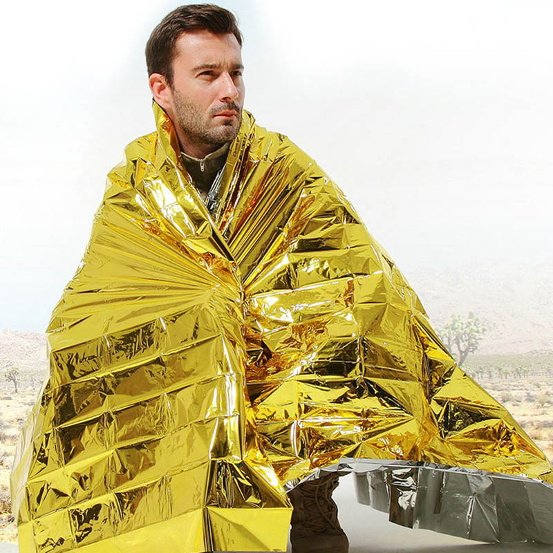 160 X 210cm Emergency Foil Mylar Blanket Rescue Thermal Aids Retain Body Heat For Camping  SP99
