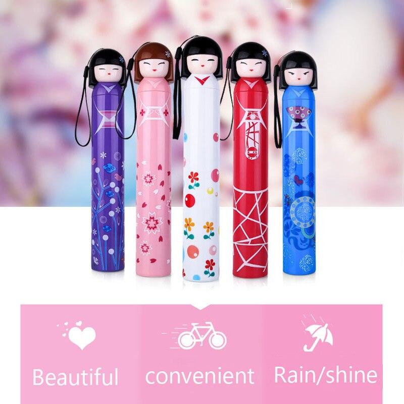 Originality Cartoon Japan Girl A Doll Umbrella The Wine Bottle Umbrella Pencil Umbrella Fold Student Umbrella