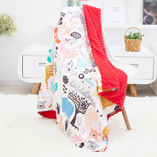 Baby Blanket Cotton cartoon can be washed cart blanket  Wind-proof multi-function Baby quilt Trolley sleeping mat  Foldable