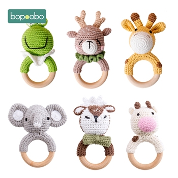 Bopoobo 1pc Baby Teether Safe Wooden Toys Mobile Pram Crib Ring DIY Crochet Rattle Soother Bracelet Teether Set Baby Product 1