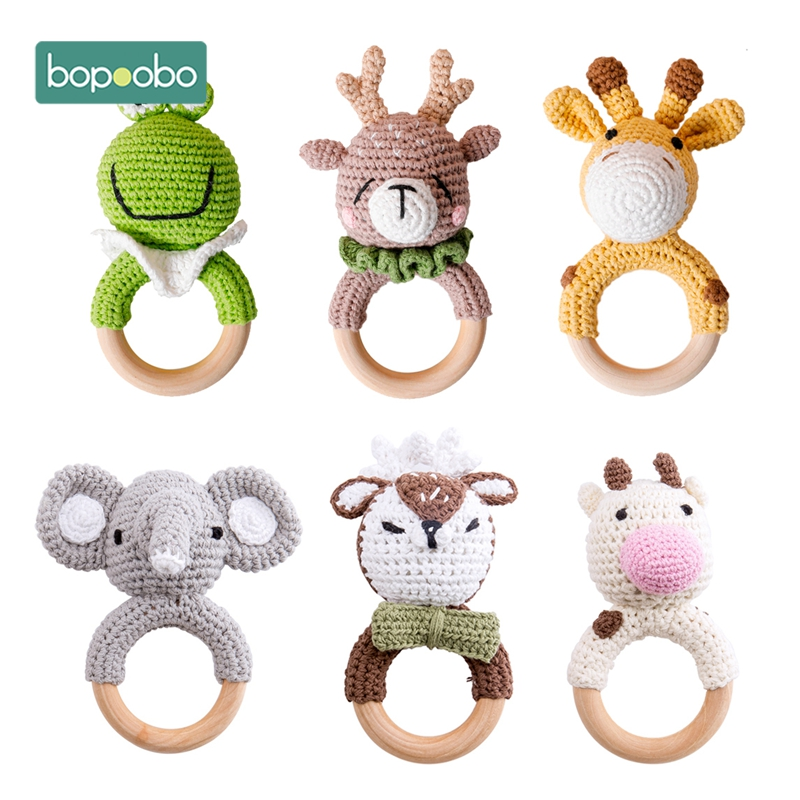 Bopoobo 1pc Baby Teether Safe Wooden Toys Mobile Pram Crib Ring DIY Crochet Rattle Soother Bracelet Teether Set Baby Product