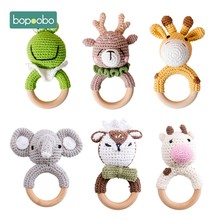 Bopoobo 1Pc Baby Bijtring Veilig Houten Speelgoed Mobiele Kinderwagen Crib Ring Diy Gehaakte Rammelaar Fopspeen Armband Bijtring Set Baby product