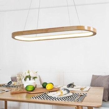 Wooden Ring Chandelier Living room Bedroom Kitchen oval chandelier Lustre Indoor home Led Pendant lamp Fixtures