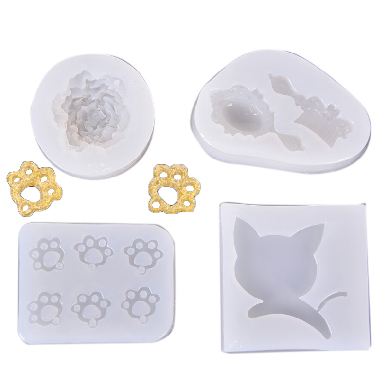 Mirror Creative Silicone Mold Cat Claw Footprint Rose For Jewelry Pendant Resin Silicone Mould Handmade Epoxy Resin Molds
