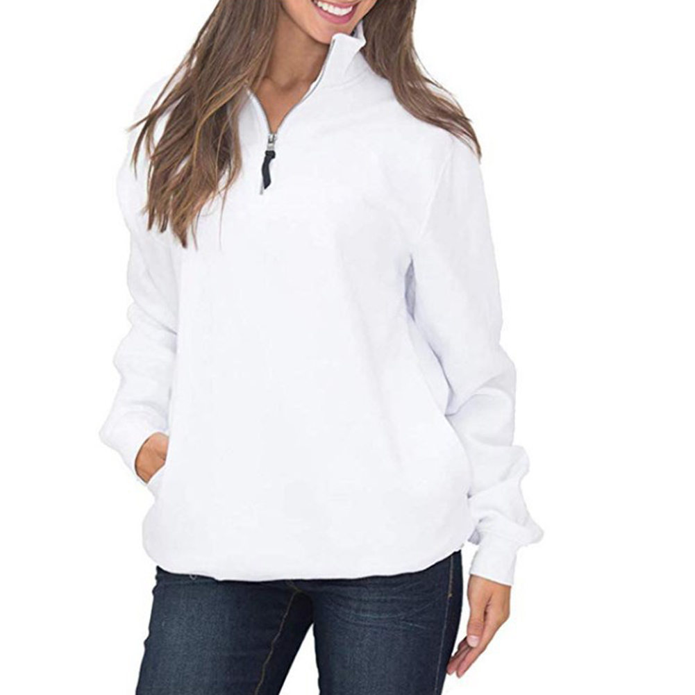 Warm Pullover Solid Tops Women Sweatshirt Stretch Long Sleeve With Pocket Round Neck Side Zip Soft Casual Autumn Daily