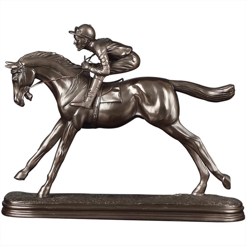 Европейский ретро рыцарь лошадь гоночная Статуя Украшение офисный винный шкаф для крыльца офисное украшение для дома ремесла