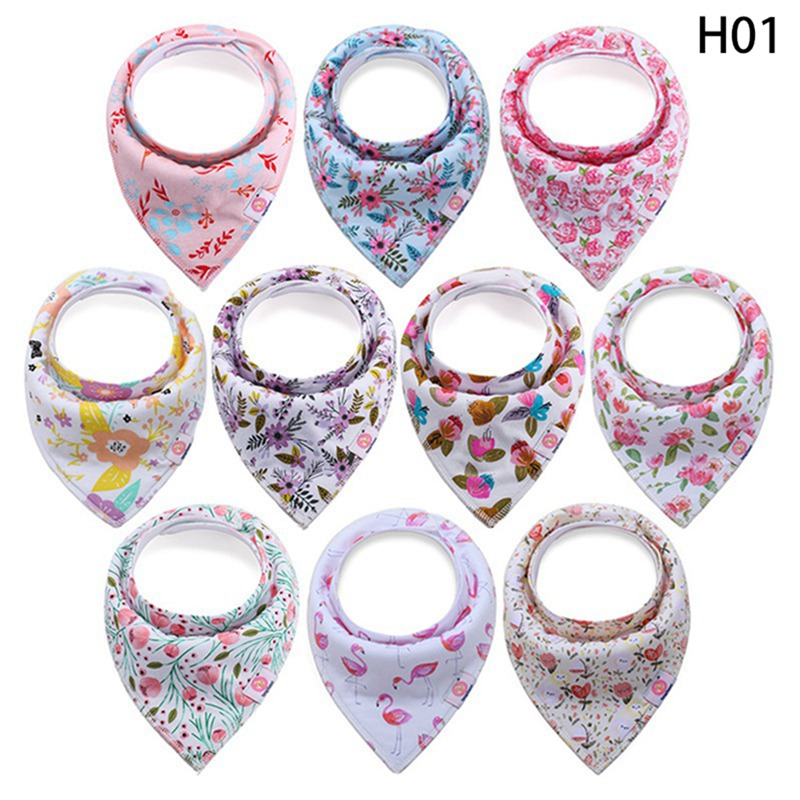 10pcs/set Baby Bib Soft Cotton Baby Drool Bibs Cute Triangle Scarf Comfortable Drooling And Teething Towel For Newborn