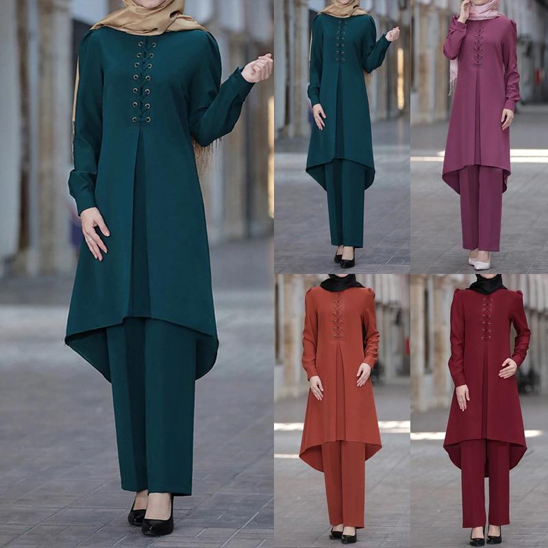 Ramadan Eid Mubarak Dubai Abaya Turkey Hijab Muslim Dress Sets Islam Clothing For Women Musulman Ensembles