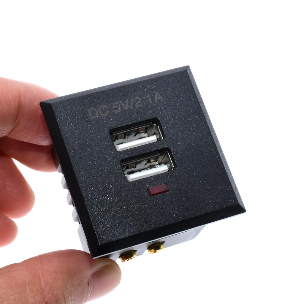 Black  5V 2.1A Card-type Dual USB Power Socket Embedded USB Desktop Socket DC Charging Power Socket Module