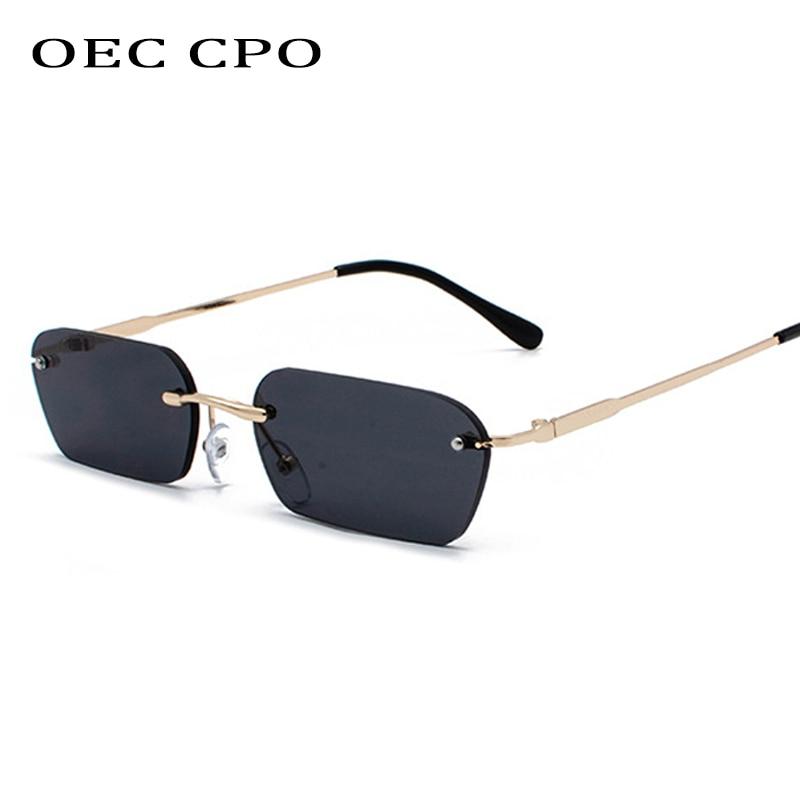 OEC CPO Fashion occhiali da sole senza montatura donna Vintage Brand Design Ladies lenti trasparenti occhiali da sole per donna rettangolo UV400 O94