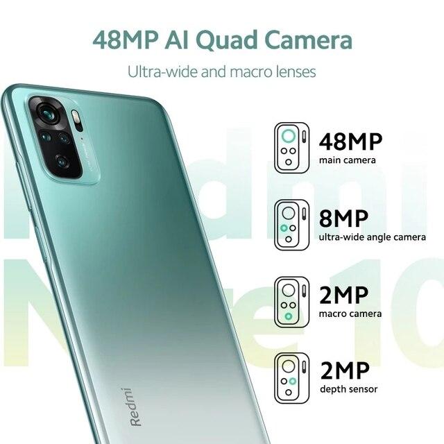 Xiaomi Redmi Note 10 Smartphone Snapdragon 678 AMOLED Display 48MP Quad Camera 33W Cellphone 4GB 128GB 4