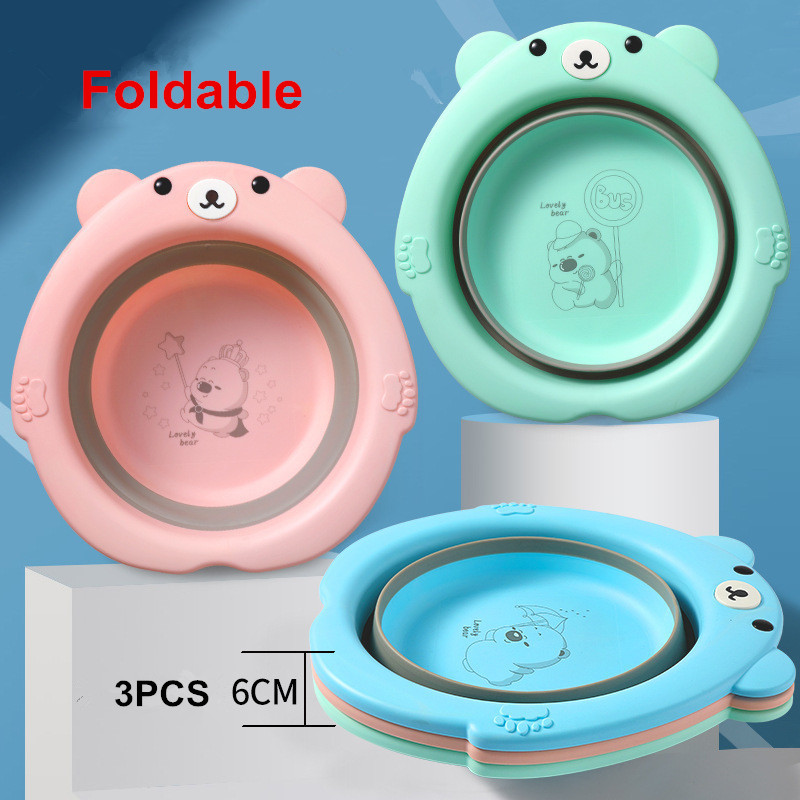 Baby Foldable Wash Basin bebe washbasin Newborn Plastic pots Cartoon Convenient Travel Cute Child Small Face Wash Butt Footbath
