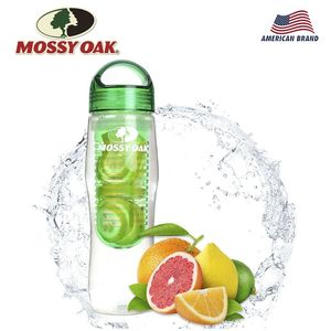 MOSSY OAK Fruit Infuser Water Bottle Leakproof Outdoor Sport Bottle for Hiking Cycling Camping Gym Yoga Fitness