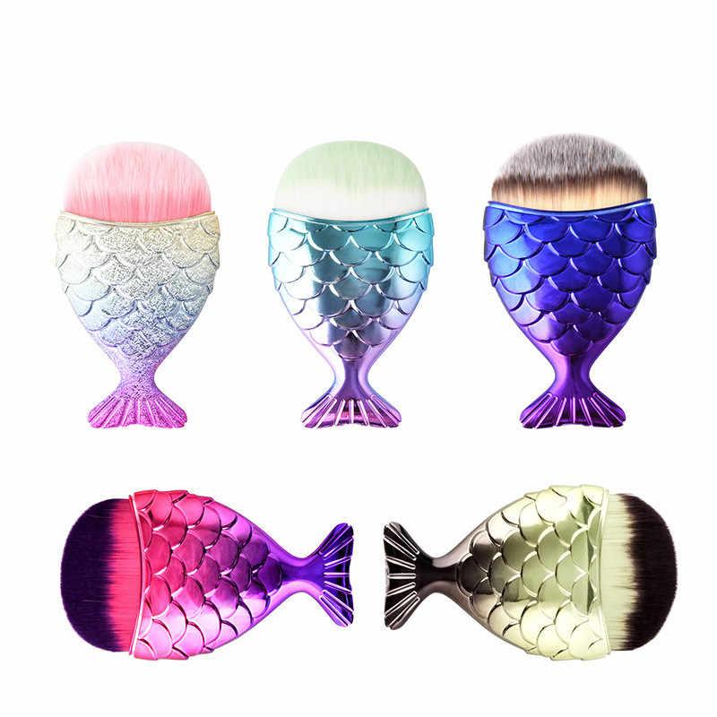 Baru 1 PC 5 Warna Profesional Mermaid Riasan Sikat Ikan Ekor Bubuk Yayasan Kosmetik Alat Brochas Maquillaje