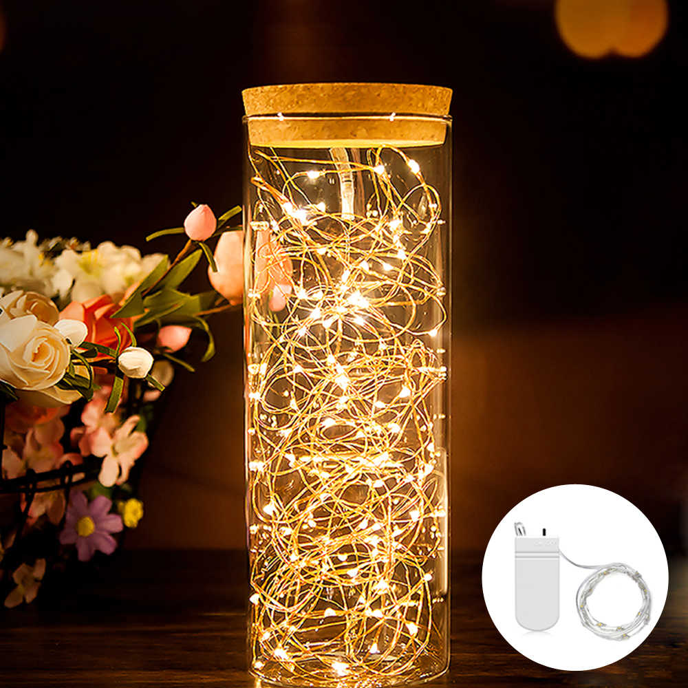 2 m fio de cobre guirlanda garrafa rolha para artesanato de vidro led string luzes casamento natal ano novo decoração do feriado lâmpada