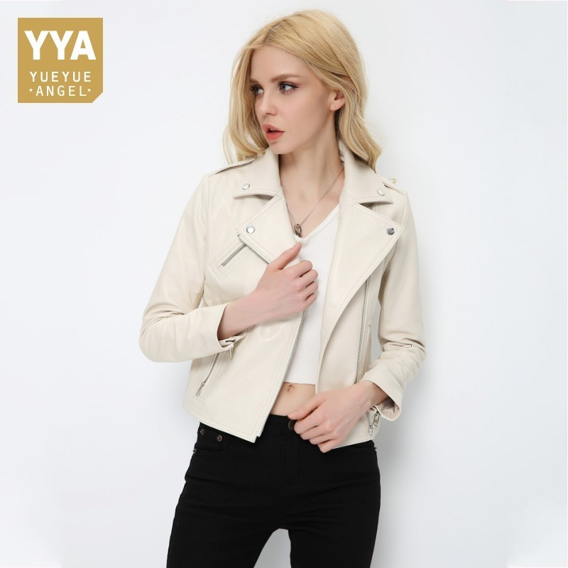 Real Leather Jacket New Spring Autumn Sheepskin Coats Women White Shorts Womens Sheepskins Zipper Sheepskin Coat Female Jacket
