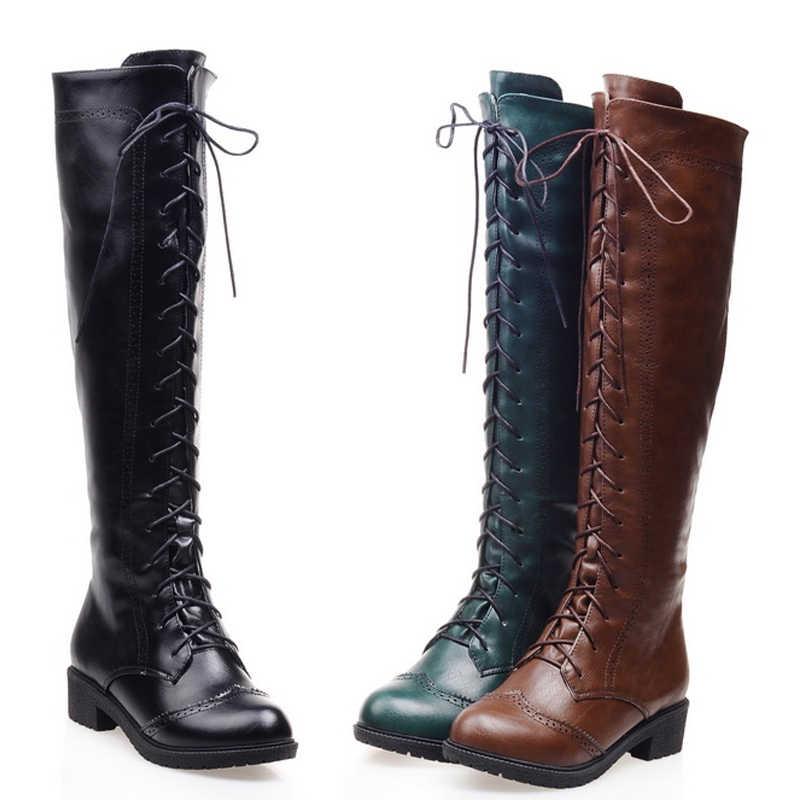 Haoshen ve kız sonbahar/kış kadın Lace up diz çizmeler motosiklet serin çizme yüksek kalite moda sürme yuvarlak ayak bota ayakkabı G122